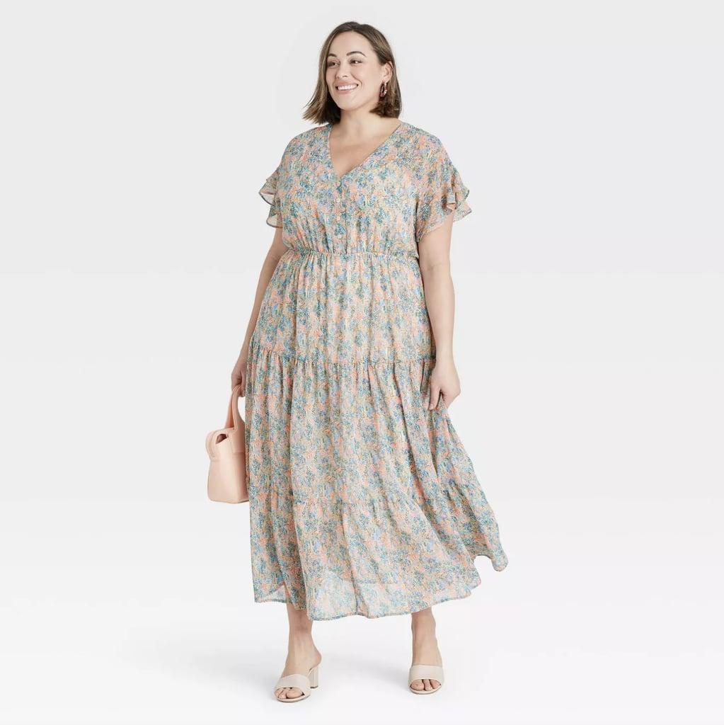 Ava & Viv Flutter Short Sleeve Chiffon Dress