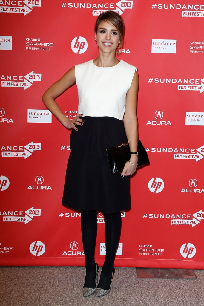 Jessica Alba was on-trend in a black-and-white colour-block Christian Dior dress at the 2013 Sundance Film Festival for the premiere of A.C.O.D.