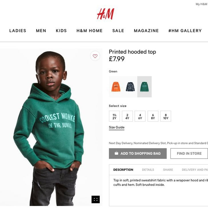 H&M Black Child Model in Monkey Sweater Ad