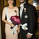 Princess Sofia hid her baby bump with a bouquet at an event in October 2015.