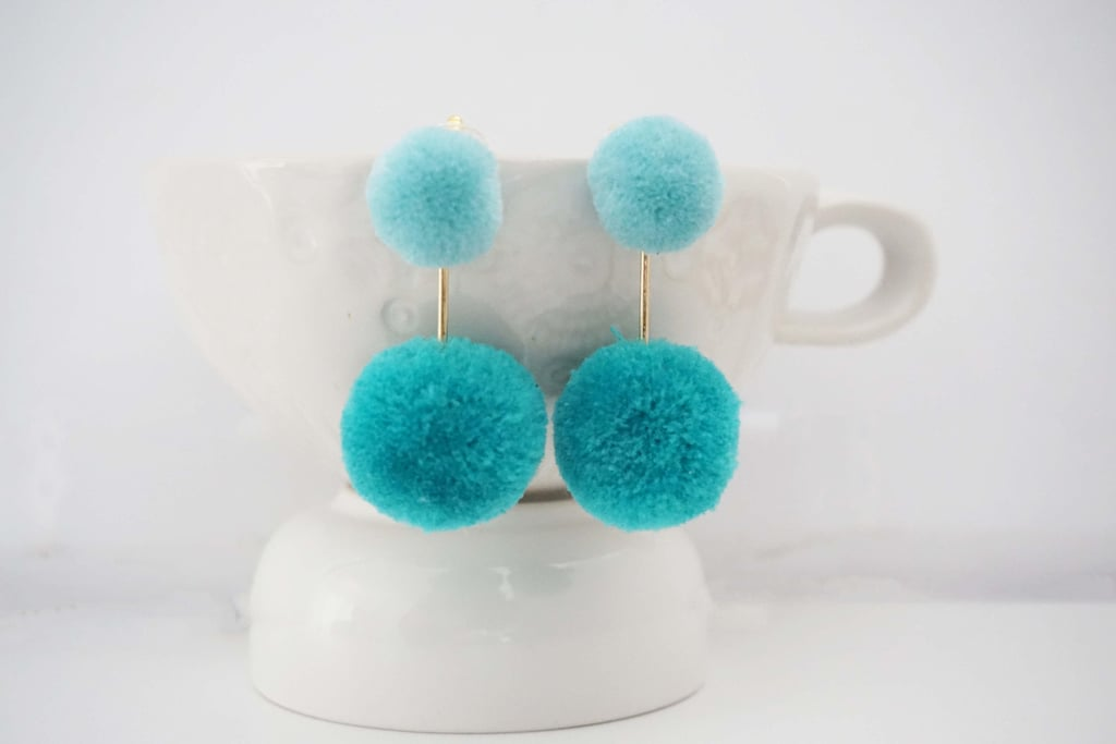 Teal Blue and Gold Pom Pom Earrings
