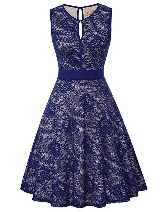 Kate Kasin Lace Halter A-Line Keyhole Dress