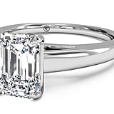Ritani Emerald Cut Solitaire Diamond Cathedral Engagement Ring