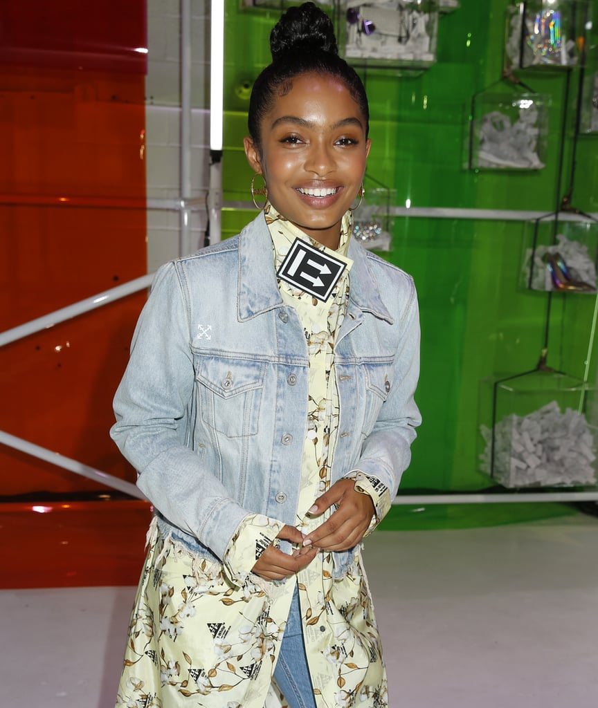 Draw attention to a personalized pair of gold hoops with a thin turtleneck, which will attract eyes upward. Yara Shahidi has the right idea.
