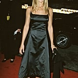 A black satin A-line dress and pointed-toe pumps were Jennifer's picks for the People's Choice Awards in 2000.