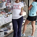 Kim Kardashian promoted her own Dub magazine cover —while endorsing Barack Obama — at an LA newsstand in June 2007.