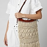 Isabel Marant Teomia Fringed Open Knit and Leather Bag