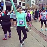 We love her spirit before taking off in a half marathon.