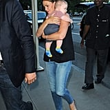 In August 2012, Jennifer Garner brought along baby Samuel to her East Coast press events in NYC.