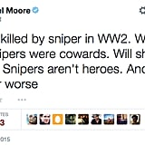 Meanwhile, Michael Moore tweeted a comment that people linked to American Sniper.