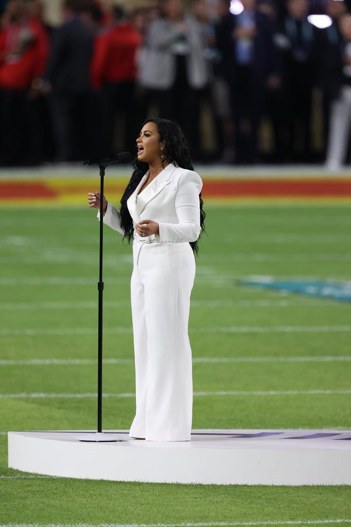 Demi Lovato's White Tuxedo Jumpsuit at the Super Bowl LIV