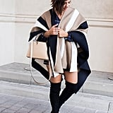 I've put together a quick, comfortable and chic look with some ultimate over-the-knee boots plus everyone's favourite new piece for keeping warm whilst still maintaining fashion credibility - the blanket wrap.