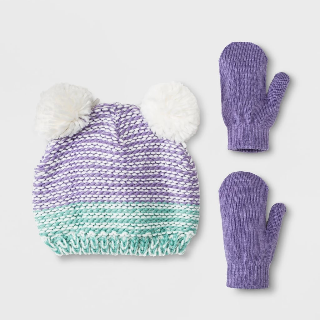 e776770f390 ... low cost toddler girls ombre pom beanie hat and mitten set 2beb7 bb17f