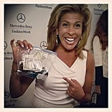 Hoda Kotb showed off her improvised tote bag. Source: Instagram user mbfashionweek