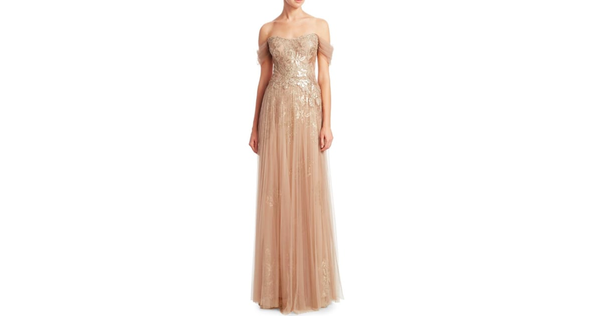 Teri Jon by Rickie Freeman Off-the-Shoulder Pleated Tulle Evening ...