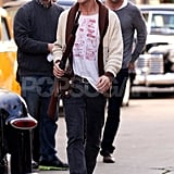 Ryan Gosling walked onto the set of Gangster Squad in his street clothes.