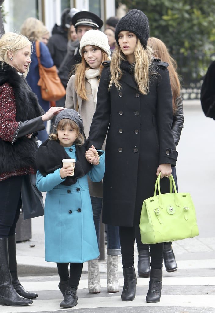 On Saturday, Jessica Alba toured the streets of Paris with Honor.