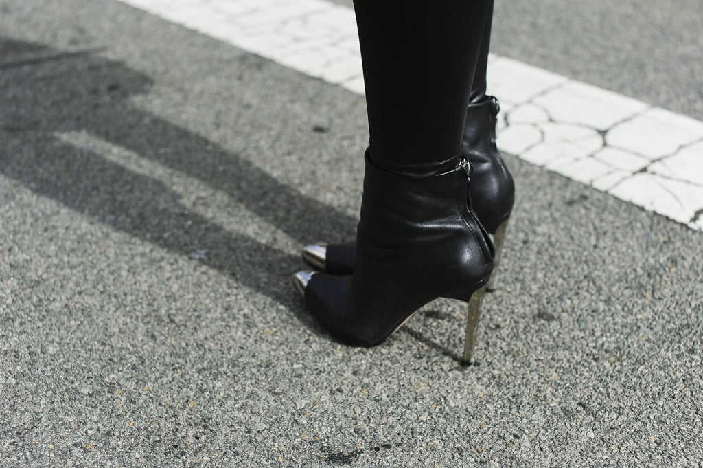 These silver cap-toe booties have just the right amount of polish and edge.