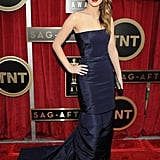 Jennifer Lawrence struck a pose in strapless Dior Haute Couture.