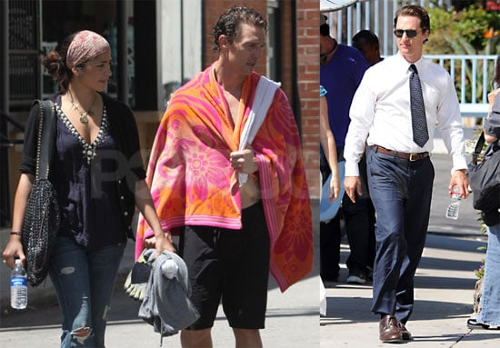 Pictures of Matthew McConaughey Working Out With Camila Alves and Filming The Lincoln Lawyer