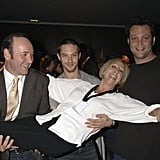 With Kevin Spacey, Nichola McAuliffe, and Vince Vaughn at the 24 Hour Plays gala party in London in 2006.