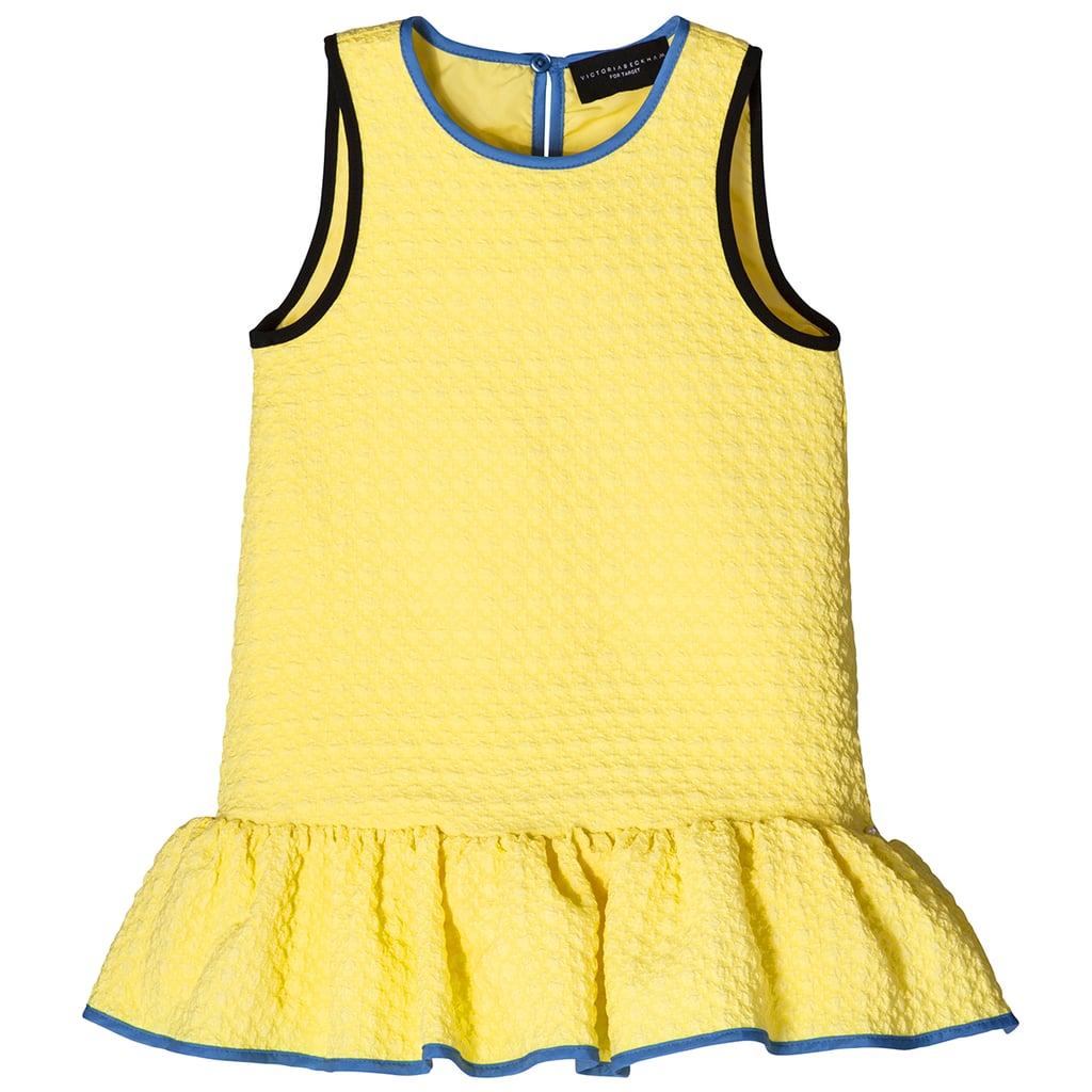 Girls' Yellow Cloque Ruffle Dress  ($28)