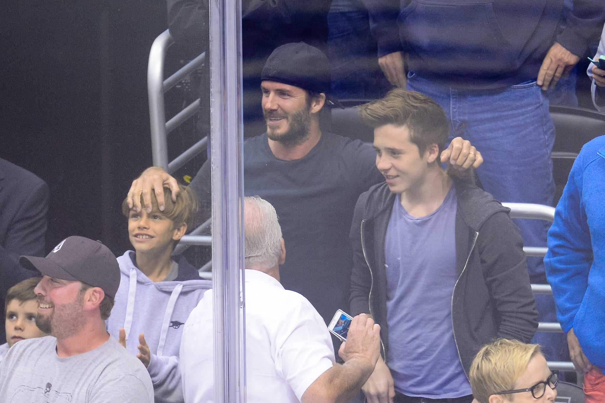 David Beckham watched the game with Cruz, Romeo, and Brooklyn.