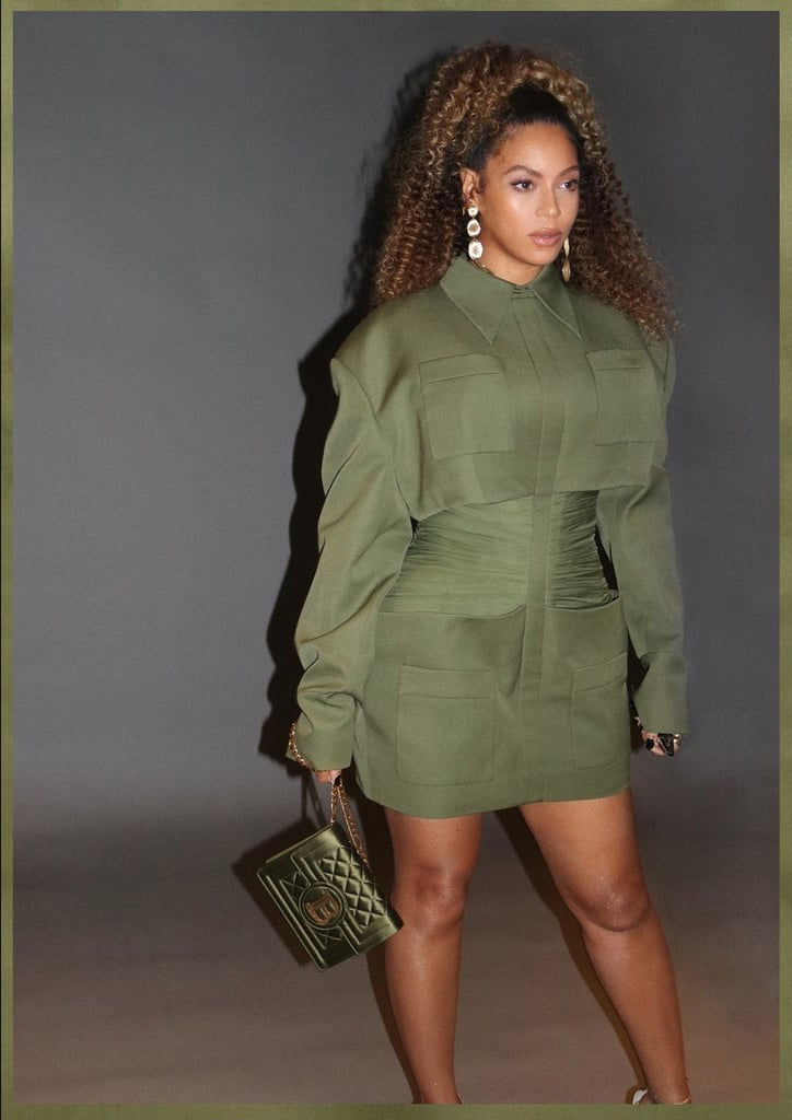 "Beyoncé knows how to make an impact with an outfit, and she always makes sure that the details tell as much of a story as the main elements of the look. When she stepped out for a special screening of the movie Queen & Slim on Nov. 14, Bey definitely made sure that every element of her look was perfect, right down to the very aptly chosen handbag, complete with a ""B"" insignia. To the uninitiated, the bag looked like it had been personalized especially for the singer, but fashion fans will no doubt have quickly identified it as a Balmain bag, making the shared initial nothing more than a happy coincidence. However, teamed with Beyoncé's edgy Balmain Resort 2020 look, featuring exaggerated shoulders and hips and a cleverly ruched midsection, the whole look still had the air of something that was always made for her. Bey finished her look with jewels from Marco Bicego worth over $18k, comprising the Lunaria Yellow Gold Chandelier Earrings, the Lunaria Yellow Gold Wide Ring, and the Masai Yellow Gold Diamond Crossover Ring. Take a closer look at the whole ensemble ahead.      Related:                                                                                                           Beyoncé's Colorblock Blazer and Matching Fitted Trousers Have Us Ready to Get in Formation"