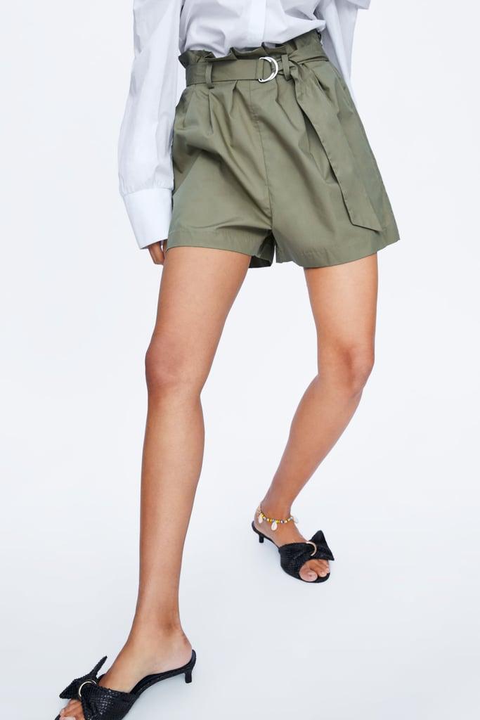 Zara Belted Poplin Shorts