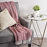 Woven Red Cotton Basket Weave Throw