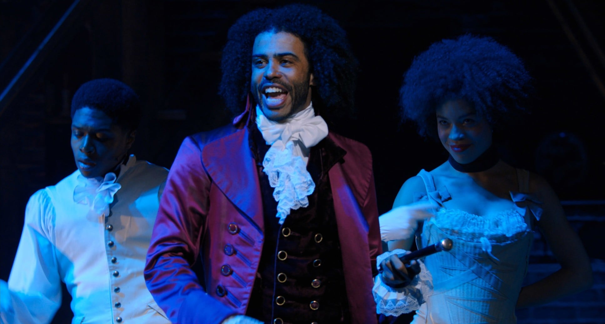 HAMILTON, center: Daveed Diggs as Thomas Jefferson, 2020.  Disney+ / Courtesy Everett Collection