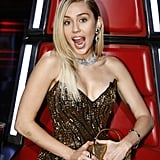 Miley Cyrus Gold Sequin Dress on The Voice
