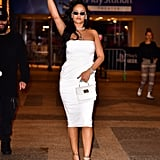 Rihanna's White Alex Perry Dress Fenty Sandals October 2019