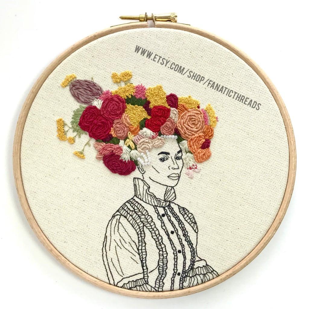 Floral Crown Embroidery Hoop