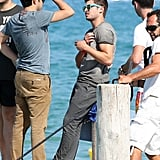 Zac Efron and friends caught a ride after lunch.