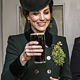 The Duchess of Cambridge Looks Totally at Ease While Drinking Guinness and Chatting With Soldiers