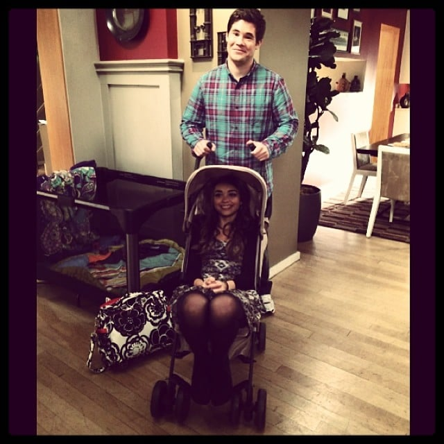 Sarah Hyland hung out in a stroller, pushed by Adam DeVine. Source: Instagram user therealsarahhyland