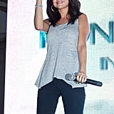 Selena Gomez happily waved to fans.