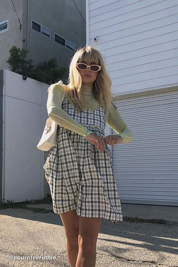 UO Alexia Plaid Tie-Shoulder Babydoll Dress