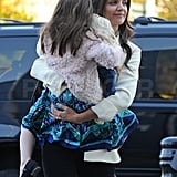 Suri wore a printed dress to a gymnastics class.