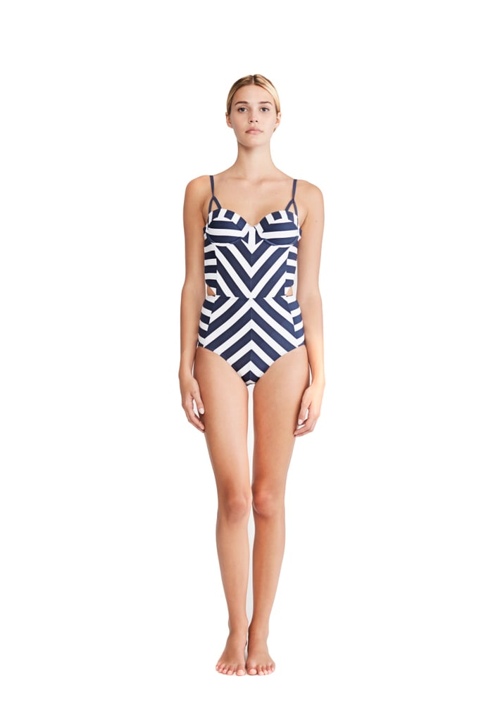 The diagonal stripes on Mei L'ange's Ava Structured Maillot ($150) are placed strategically to draw attention to the slimmest part of your body, where there are two tiny cutouts.