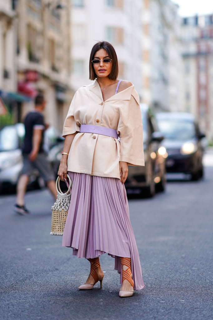 Style Your Dress With a Basket Bag and a Blazer