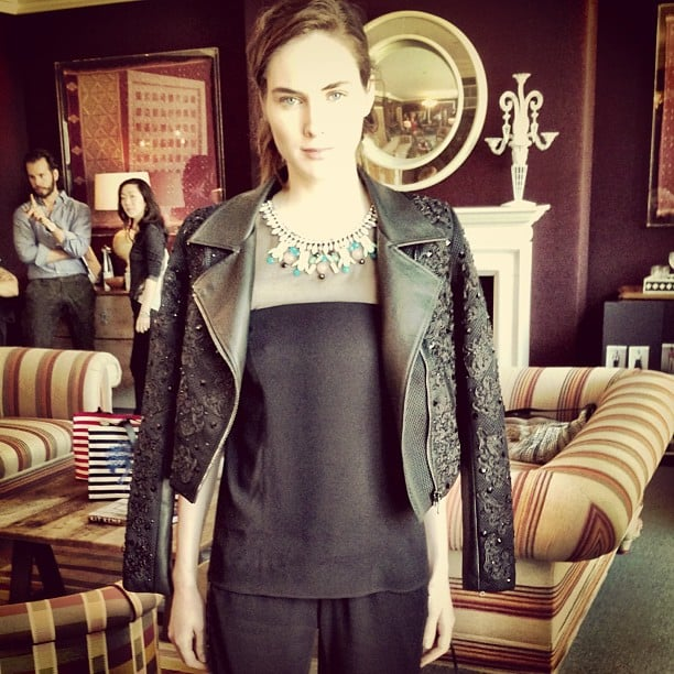 We love the juxtaposition between the sleek top and the ultratextured jacket in this Sachin + Babi look.