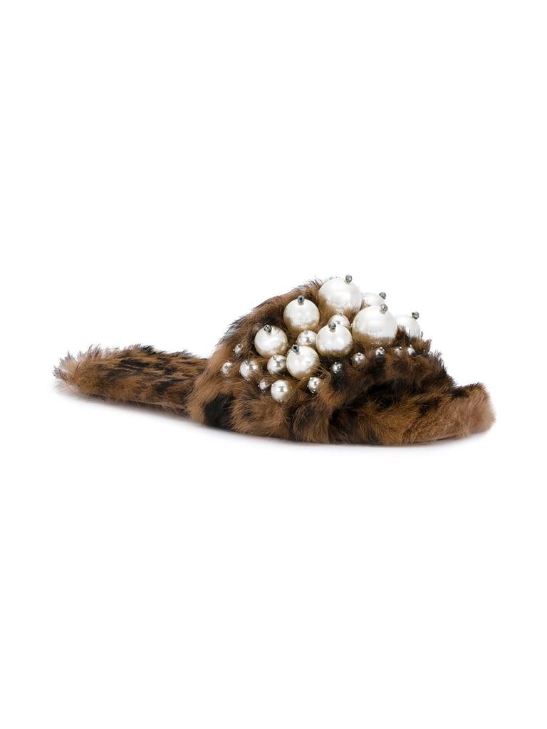 Miu Miu Leopard Print Fur Pearl Lyn Slides