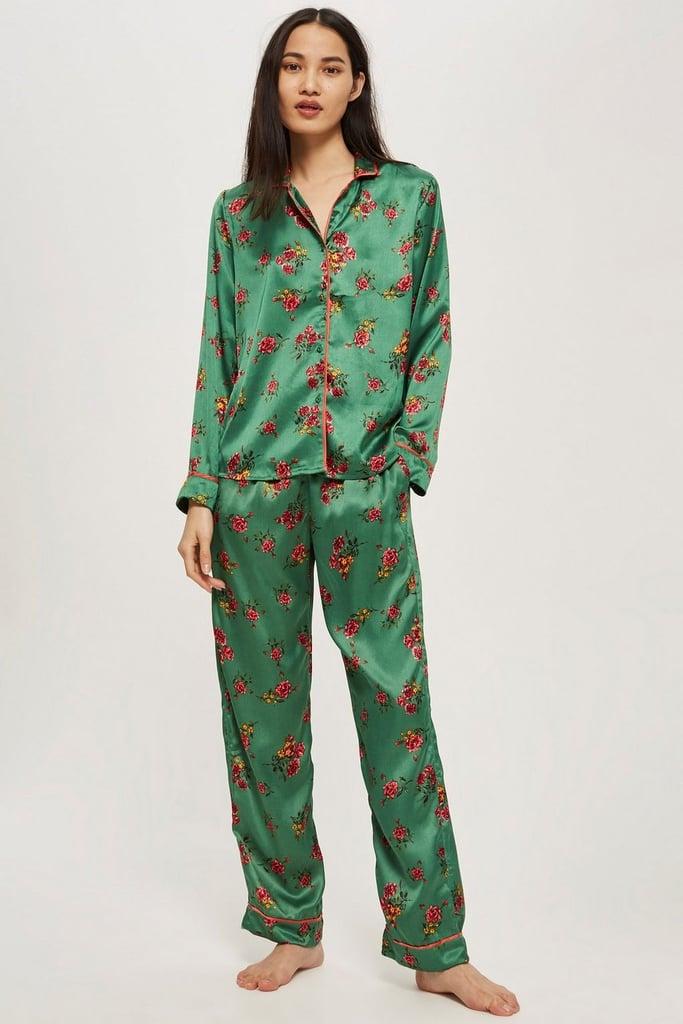 Topshop Green Satin Pyjama Set  18b8ea9bf