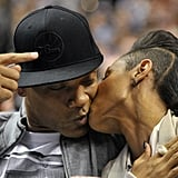 Will Smith and Jada Pinkett Smith shared a little smooch during a Philadelphia 76ers home game in March.