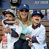 Britney Spears posed with her sons, Jayden James and Sean Preston, in the dugout at the LA Dodgers game.