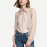 Transparant Tie-Neck Blouse