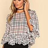 Shein Ruffle Plaid Top