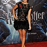To go with her edgy new hair cut in 2010, Emma rocked a black feathered minidress by Rafael Lopez to the UK premiere of Harry Potter and the Deathly Hallows.